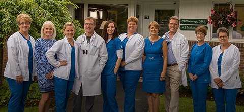 The Lyme Road Dental team in Hanover, NH standing outside