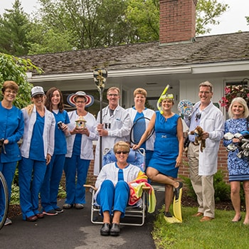 Goofy photo of the Lyme Road Dental team in Hanover, NH