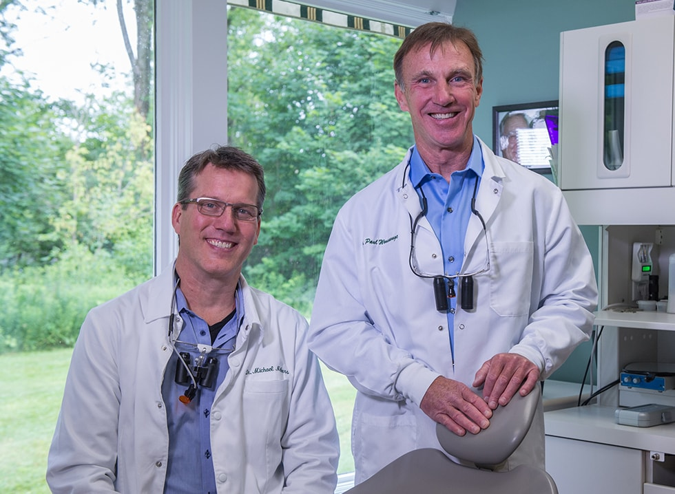 Mobile and tablet image of Dr. Michael Melkers and Dr. Paul Wonsavage, each a cosmetic dentist Hanover NH