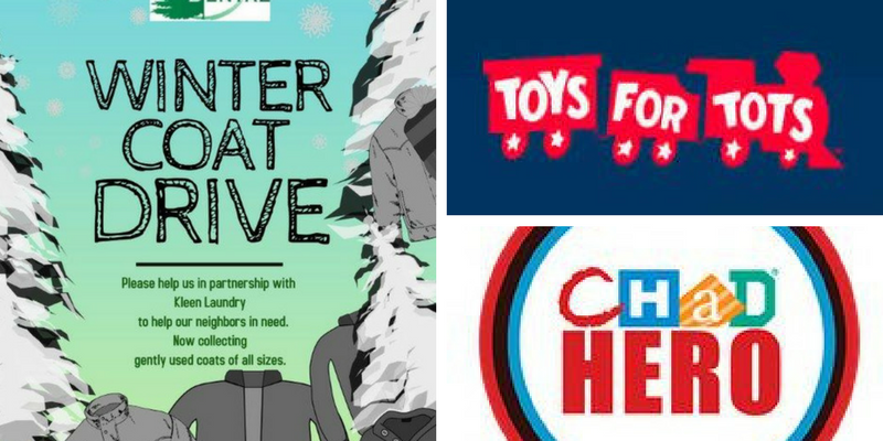 Winter Coat Drive / Toys for Tots / Chad Hero Banner