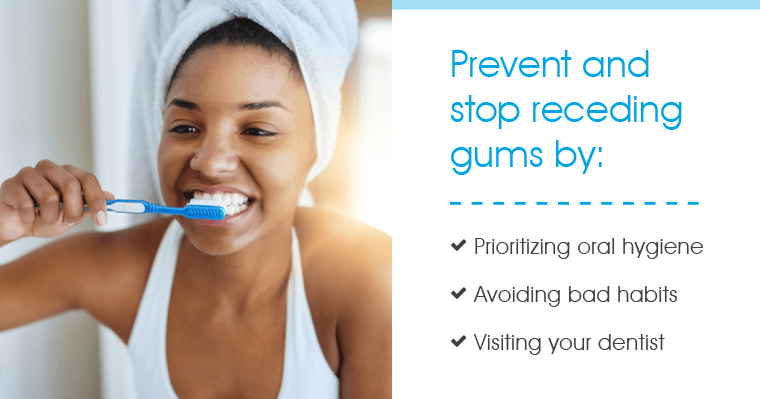 Woman brushing her teeth to prevent what causes receding gums